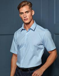 Men`s Microcheck (Gingham) Short Sleeve Cotton Shirt