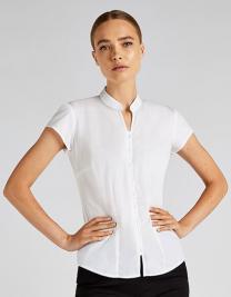 Tailored Fit Poplin Contintental Blouse Mandarin Collar Cap Sleeve